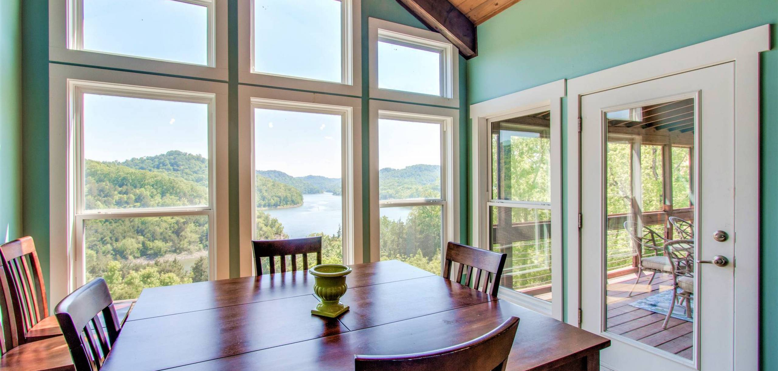 The dining room view of the lake